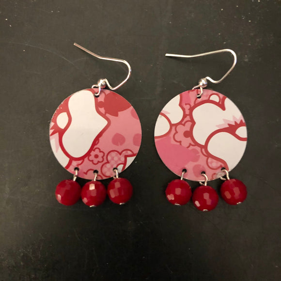 Pink and Red Floral Tin Earrings with Beads