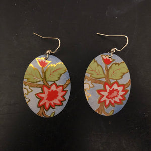 Red Floral with Green Leaves Tin Earrings