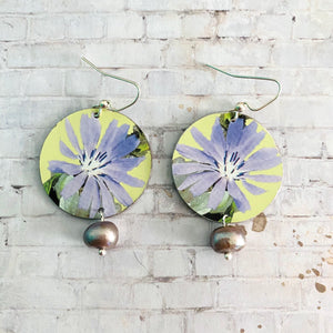 Lavender Wildflower Circle Tin Earrings with Freshwater Pearl