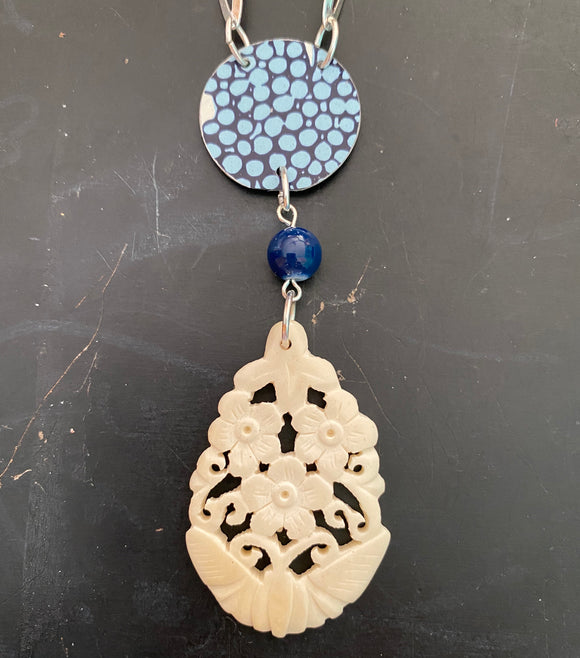 Blue Circles Tin Necklace with Carved Bone Pendant