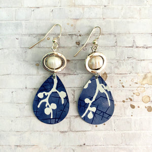 Blue and White Branches Teardrop Tin Earrings with Freshwater Pearls