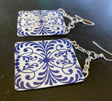 Blue and White Filigree Tin Earrings
