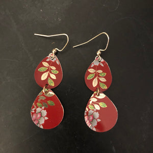Tiered Floral on Red Teardrops Tin Earrings