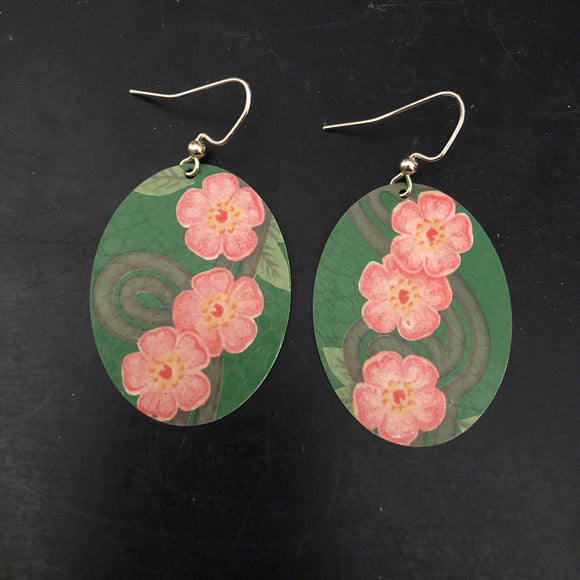 Green and Pink Floral Oval Tin Earrings