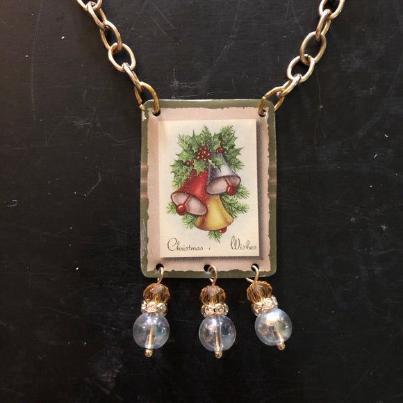 Christmas Bells Tin Necklace with Beads