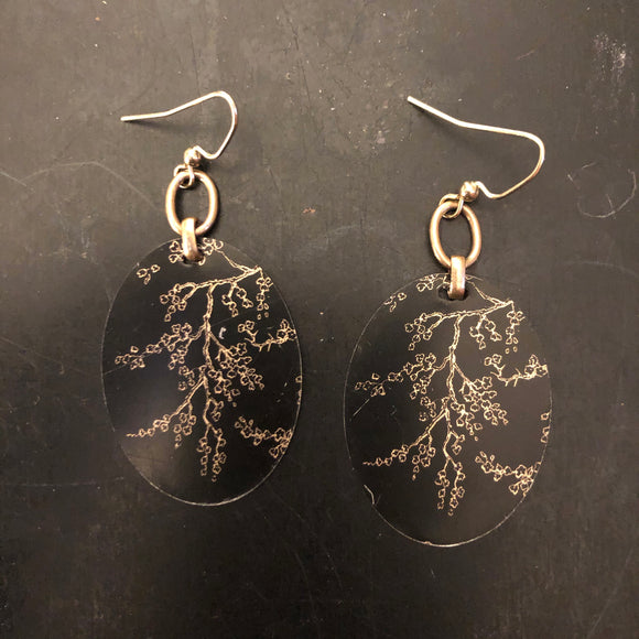 Gold Branches on Black Tin Earrings
