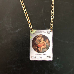 Italian Mother and Child Postage Stamp Tin Necklace