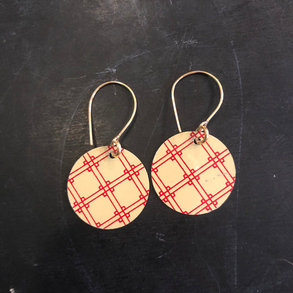 Cross Stitch Circle Tin Earrings