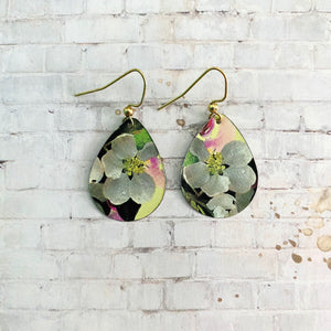 Cherry Blossoms on Yellow Oval Tin Earrings