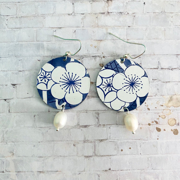 Blue and White Cherry Blossom Circle Tin Earrings with Freshwater Pearls