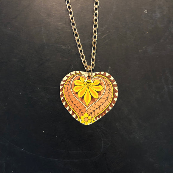 Pink and Yellow Mandala Style Tin Necklace