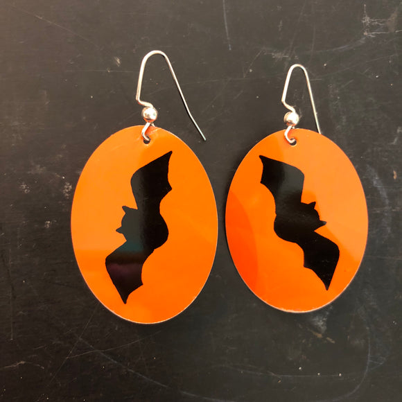 Oval Bats Tin Earrings