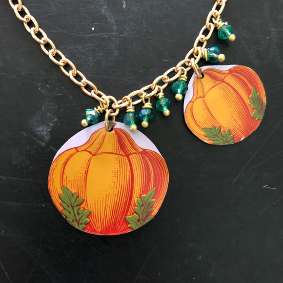 Double Pumpkin Tin Necklace with Beads