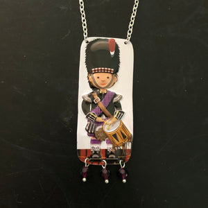 Purple Plaid Drummer Tin Necklace with Beads