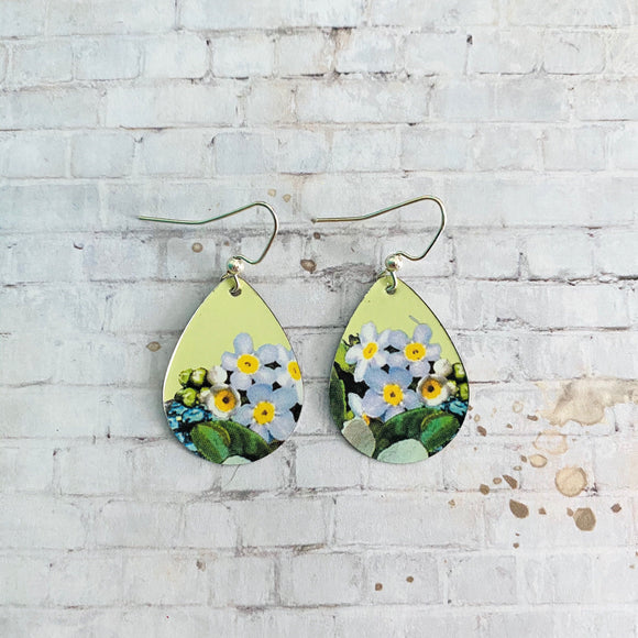 Lavender Floral Teardrop Tin Earrings