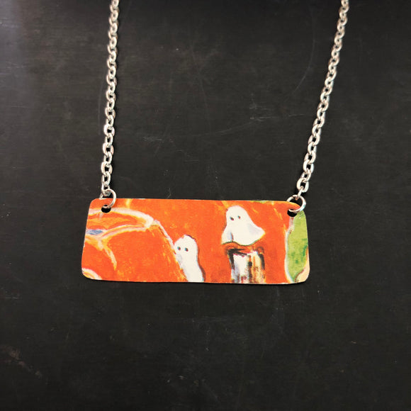 Ghosts Bar Tin Necklace