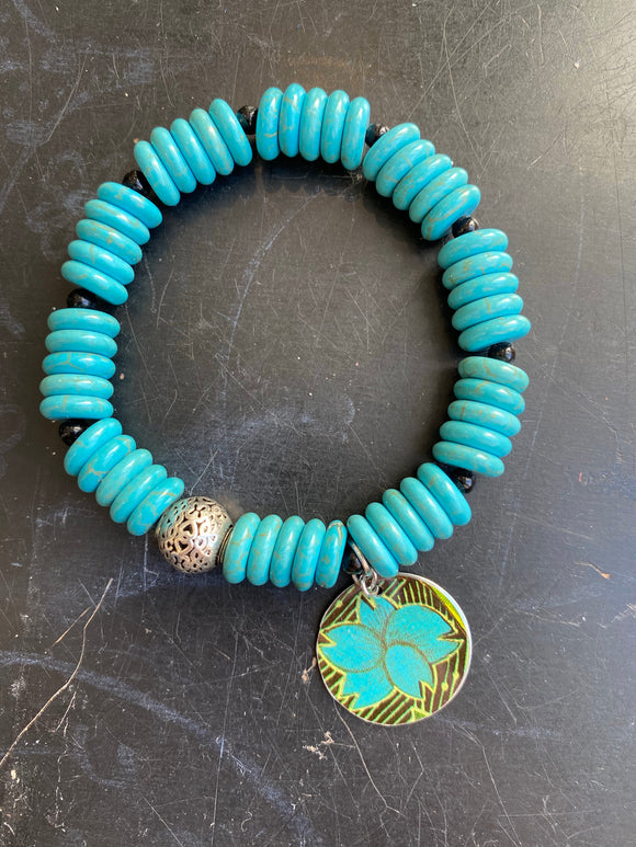 Natural Turquoise and Black Glass Beads with Silver Tin Charm Bracelet