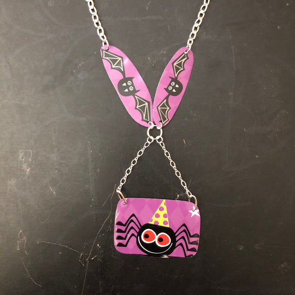 Black Bats and Spider Tin Necklace