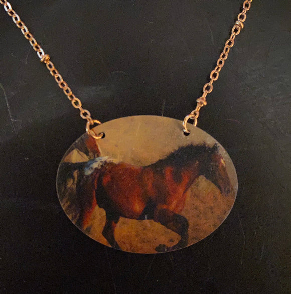 Galloping Horse Tin Necklace