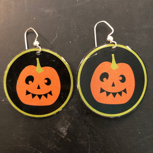 Smiley Scary Pumpkin Circle Tin Earrings