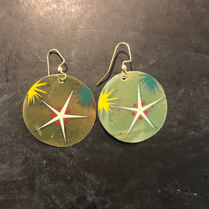 Atomic Starburst Gold and Red Circle Tin Earrings