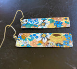 Multicolored Floral Rectangle Tin Earrings