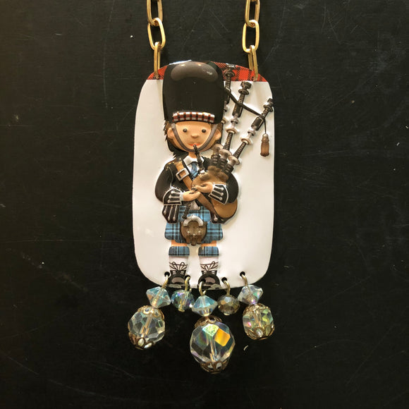 Blue Plaid BagPiper Tin Necklace with Beads
