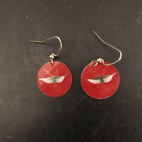 Gold Butterfly on Red Tin Earrings
