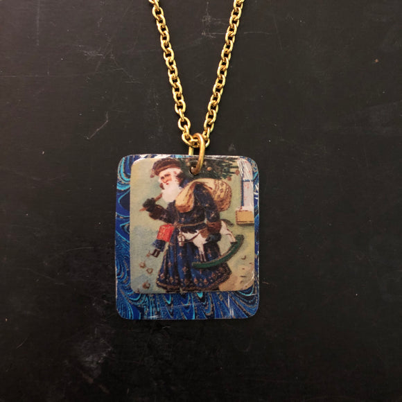 Double Blue Santa Tin Necklace