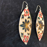 Long Navy and Gold Floral Oval Tin Earrings