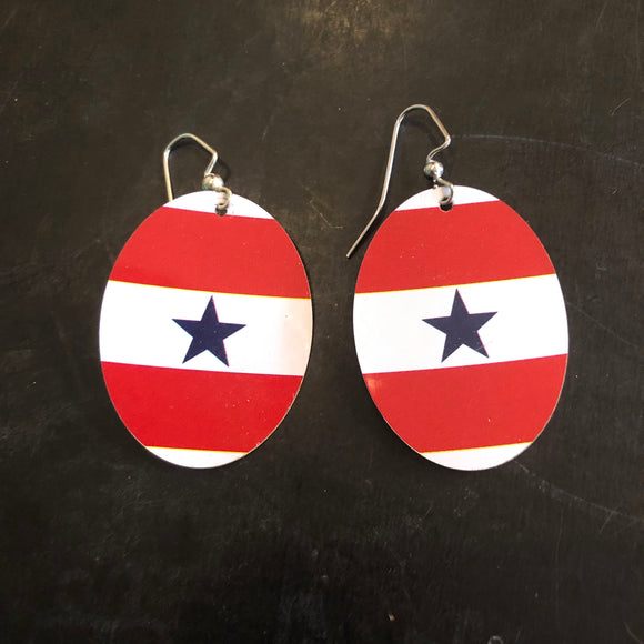 Red and White with Blue Star Oval Tin Earrings