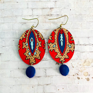 Red and Tan Tapestry Style Oval Tin Earrings