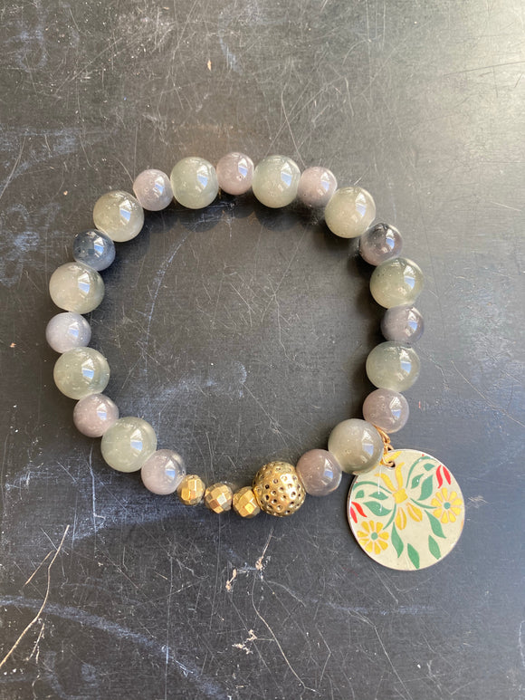 Smoky Quartz and Gold Bead Tin Charm Bracelet