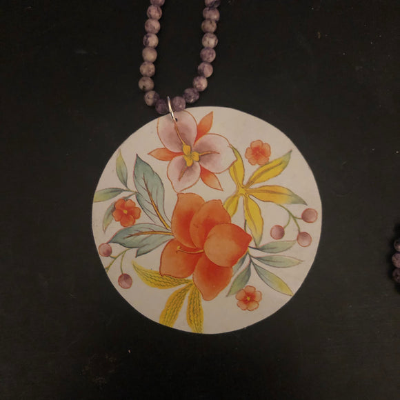 Orange Floral Tin Necklace with Beads