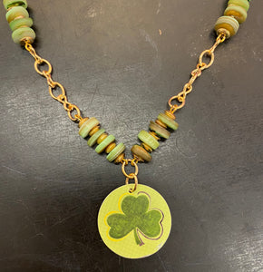 Green Shamrock Circle Tin Necklace with Green Shell Bead