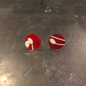 Post Small Red with White Reed Tin Earrings