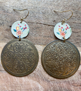 Floral two tiered Tin Earrings