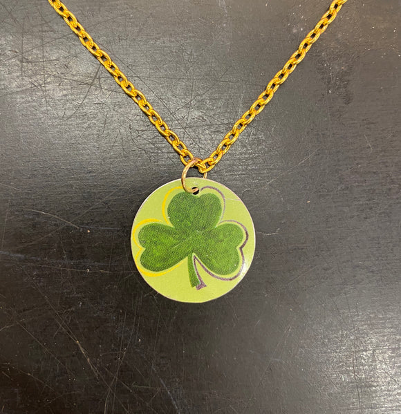 Medium Circle Shamrock Tin Necklace