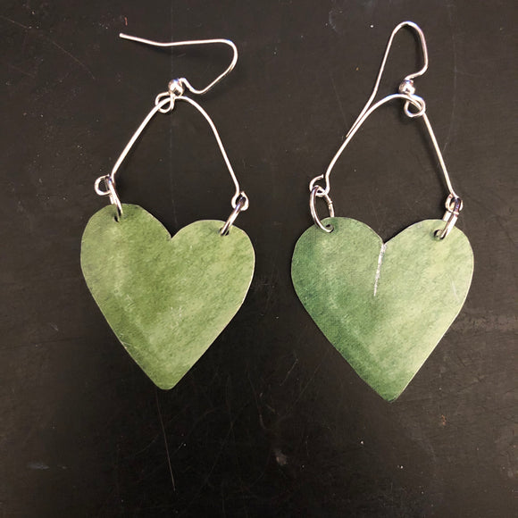 Green Hearts on Silver Tin Earrings
