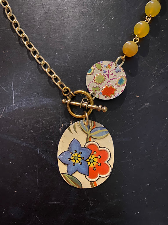 Layered Blue and Orange Floral Tin Necklace with Toggle Clasp