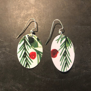 Berry and Branches Tin Earrings