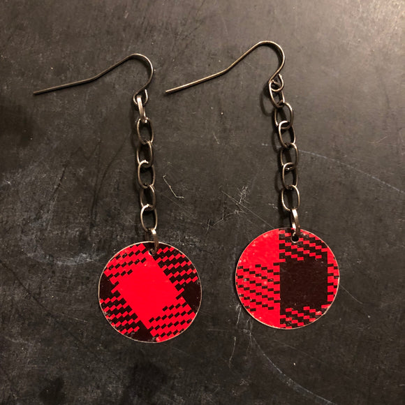 Chain Buffalo Check Circles Tin Earring