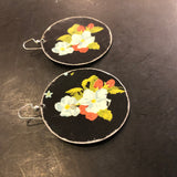 Large Circle Blue and Red Floral on Black Tin Earrings