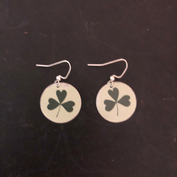 Green Shamrock Circle Tin Earring