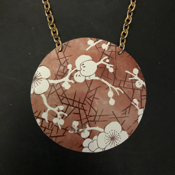 Red and White Cherry Blossom Tin Necklace
