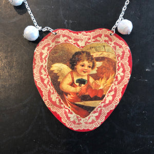 Beaded Chain Heart Valentine Tin Necklace