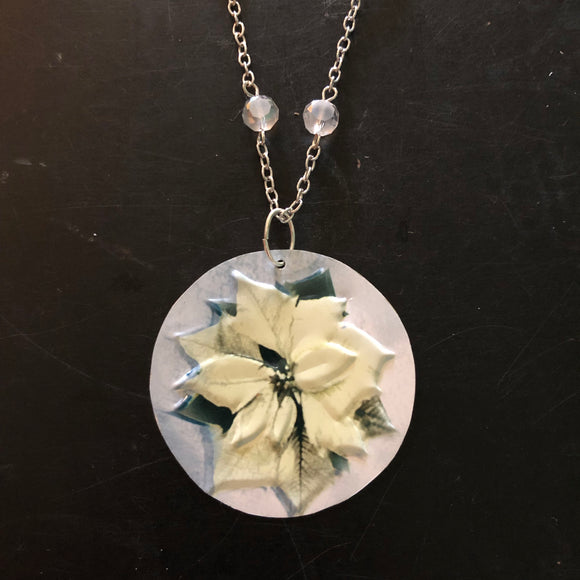 Beaded White Poinsettia Tin Necklace
