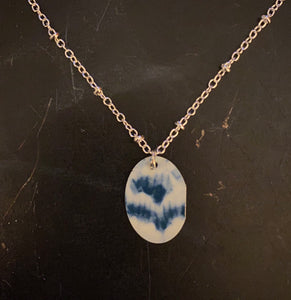 Blue and White Abstract Floral Tin Necklace