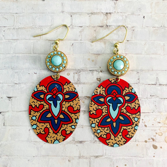 Red and Tan Tapestry Tin Earrings with Turquoise Beads