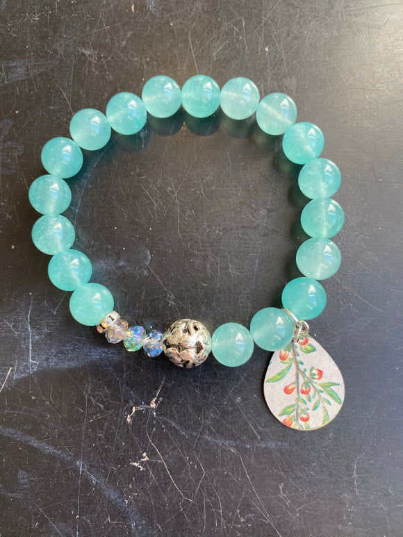 Aqua Glass Beads with Silver Tin Charm Bracelet